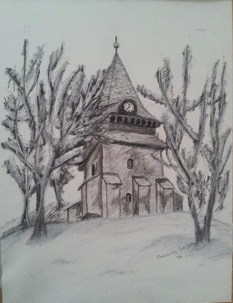 Avasi templom - Szén, pasztell kréta - 210x297 - 2014