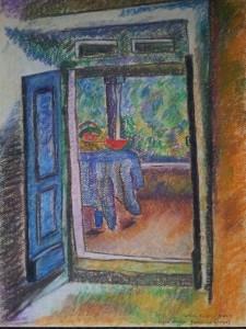 Kilátás az erkélyre (James Hurton) - Szén, pasztell kréta, pasztell ceruza - 325x420 - 2013