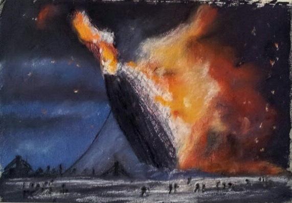 Hindenburg katasztrófa (1937 május 6) - Gouache aláfestés, pasztell ceruza, szén - 150x100 - 2015