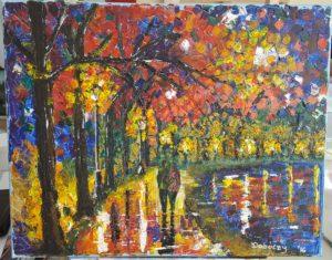 Afremov után szabadon - Akril, vászon kereten (festőkés) - 400x500 - 2016