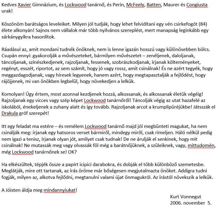 Kurt Vonnegut levele