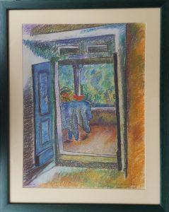 Kilátás az erkélyre (James Hurton) - Szén, pasztellkréta, pasztellceruza - 325x420mm, keretben - 2013