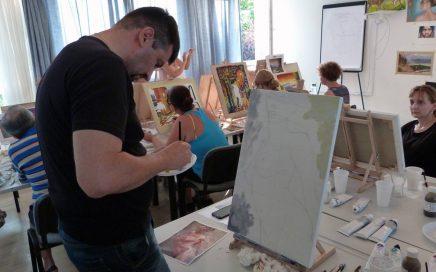 Munka közben, Balatonföldvár, művésztábor, 2017