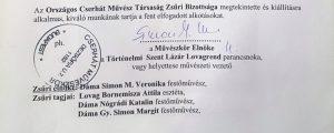 Zsűrilap eredmény aláírások