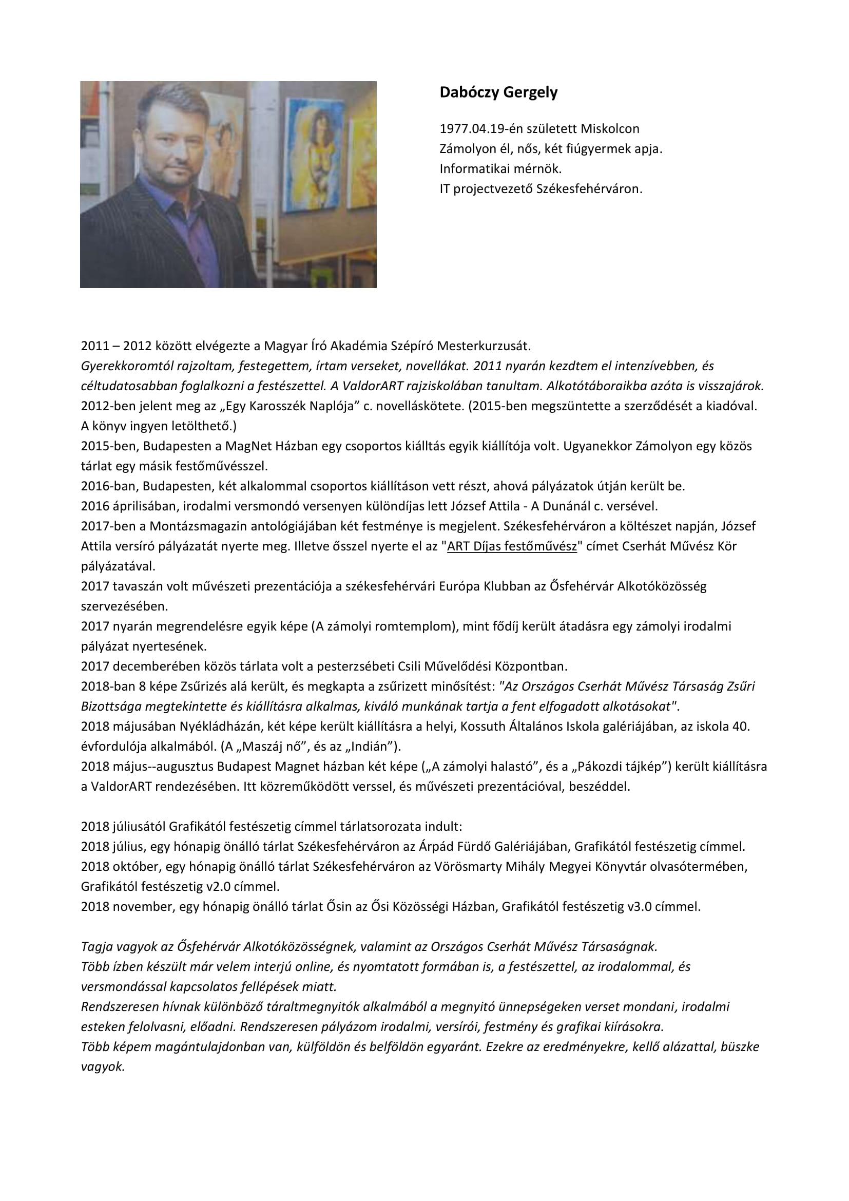 Dabóczy Gergely adatok, események 18.11.07